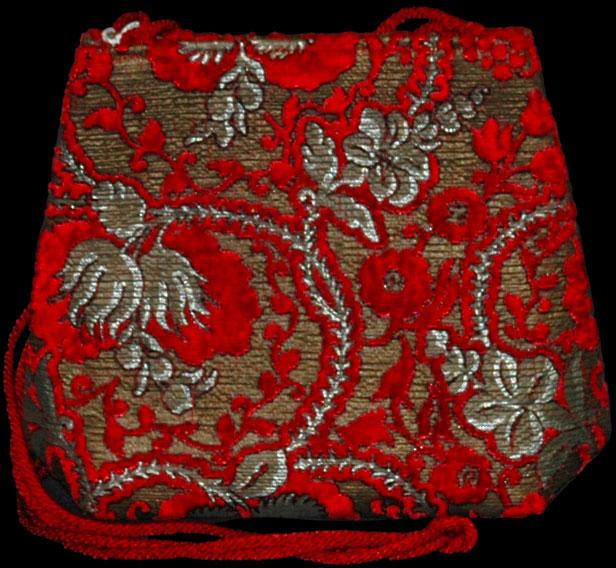 Borsa Gioia Giudecca in velluto rosso stampato a mano