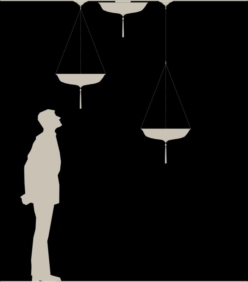Lampada in seta Fortuny Scudo Saraceno dimensioni reali