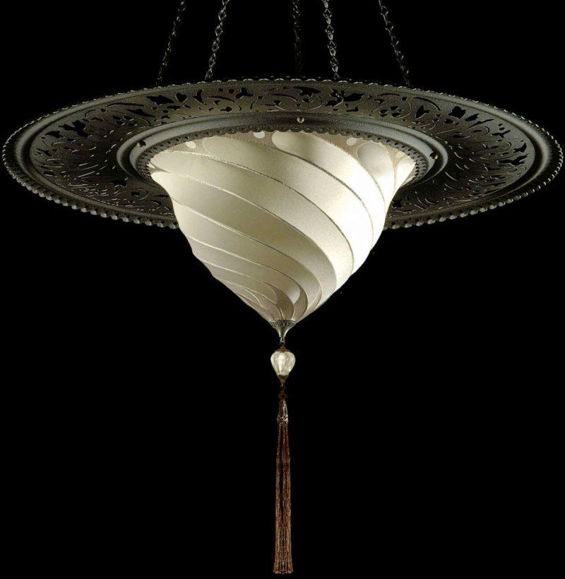Lampada in seta Samarkanda senza decorazioni con anello metallico