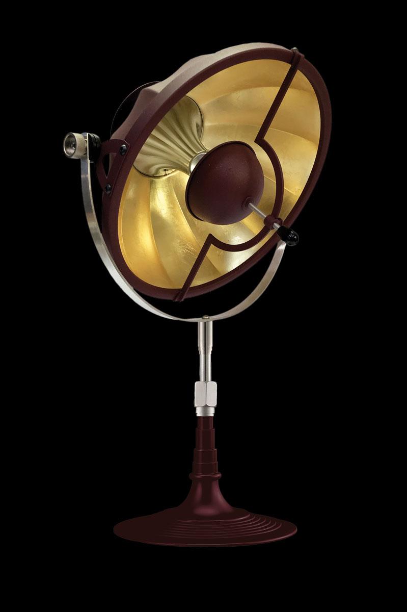 Lampada da tavolo Fortuny Armilla 32 rosso antico e foglia oro