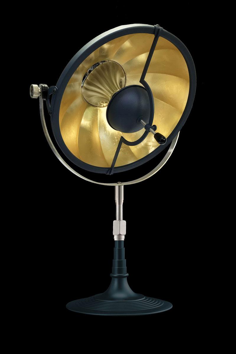 Lampada Fortuny da tavolo Armilla 32 blu e foglia oro