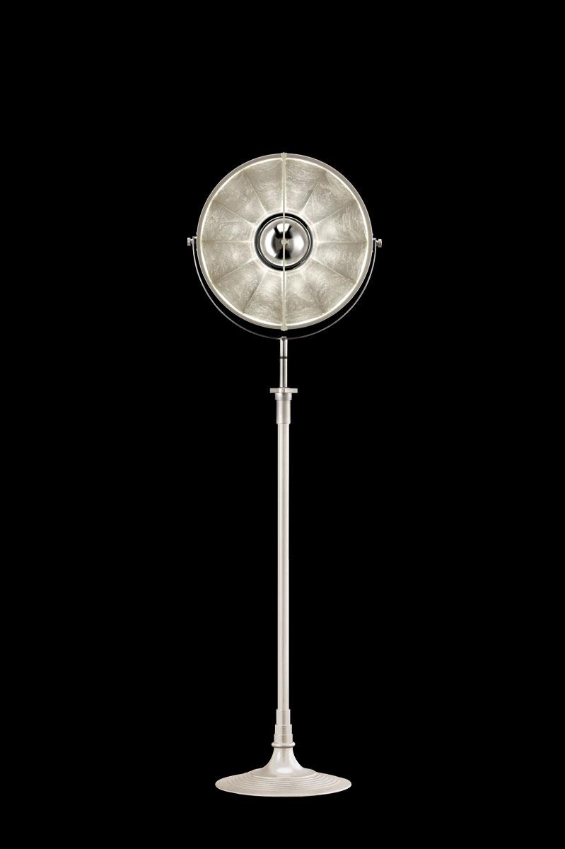 Lampada da terra Fortuny Studio 1907 Atelier 41 bianca e argento
