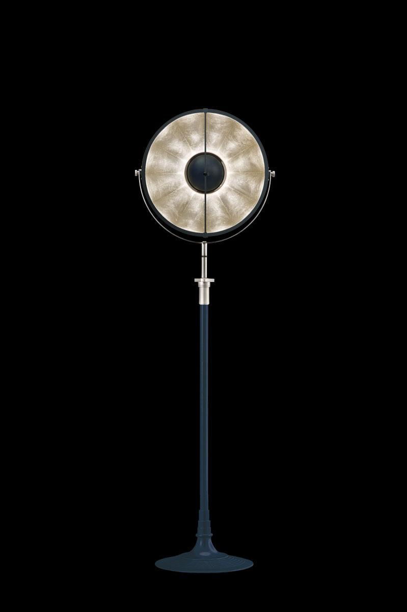 Lampada da terra Fortuny Studio 1907 Atelier 41 blu pastello e foglia argento
