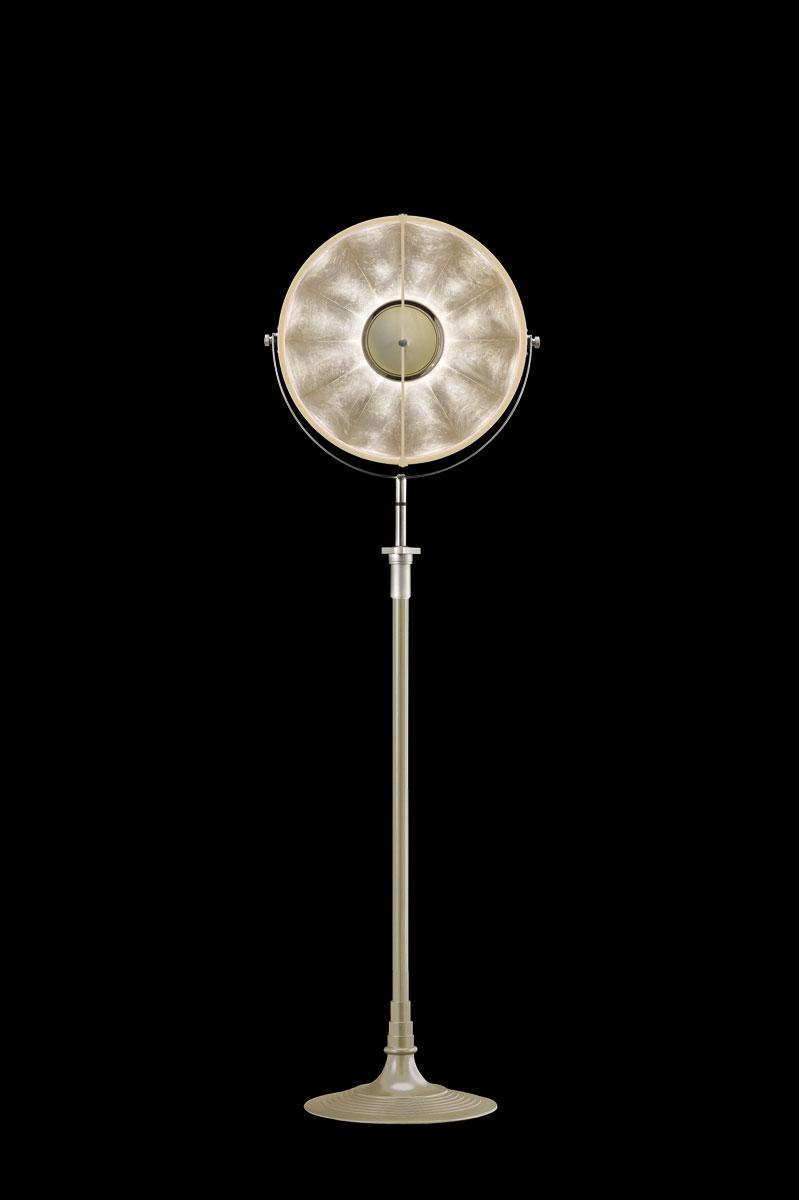 Lampada da terra Fortuny Studio 1907 Atelier 41 color quarzo e foglia argento