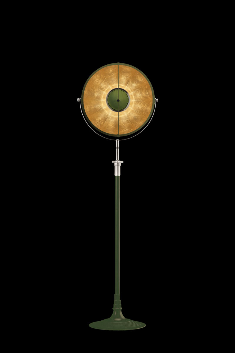 Lampada Fortuny Studio 1907 Atelier 41 verde pastello e foglia oro