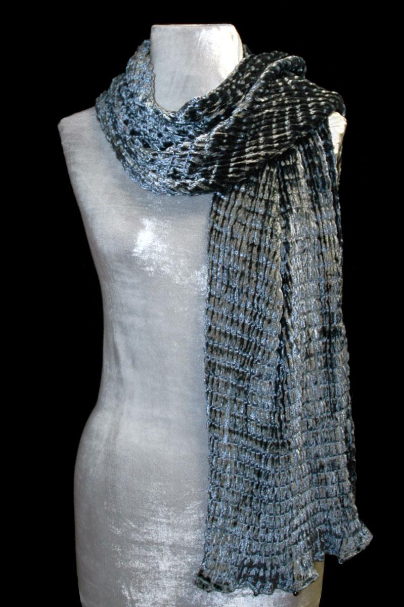 Sciarpa Fortuny in velluto plissettato argento
