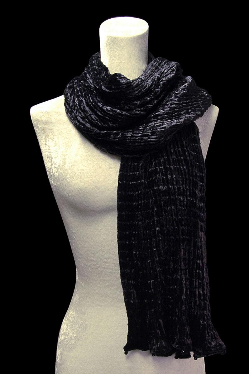 Sciarpa Fortuny nera in velluto plissettato