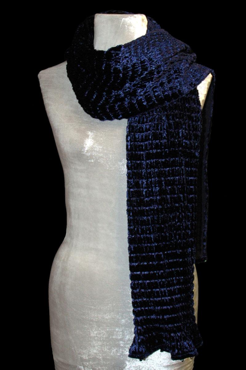 Sciarpa Fortuny in velluto plissettato color blu biro