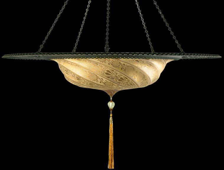 Scudo Saraceno in vetro con anello metallico