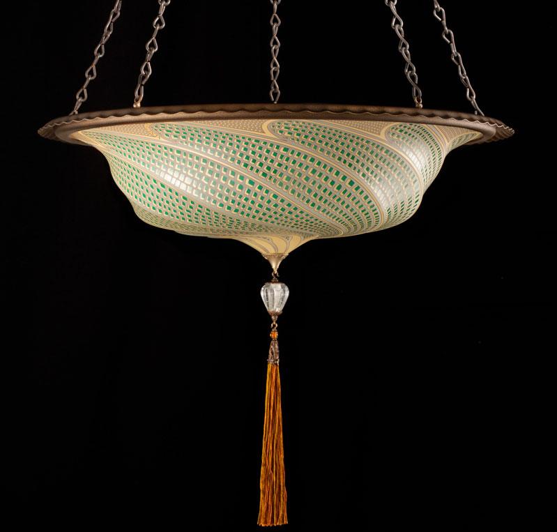 Lampada in vetro mosaico verde Fortuny Scudo Saraceno