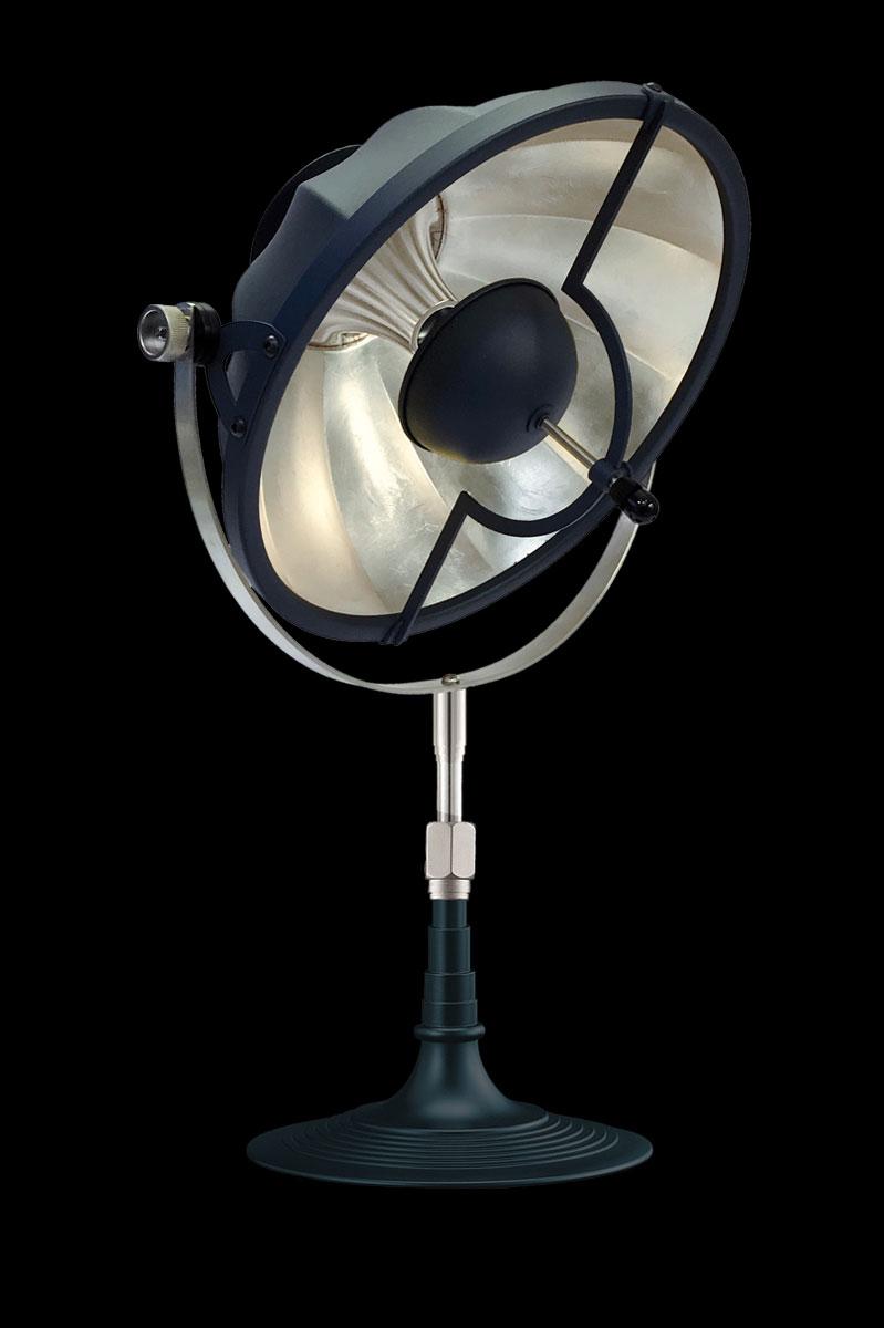 Lampada da tavolo Fortuny Armilla 32 blu pastello e foglia argento