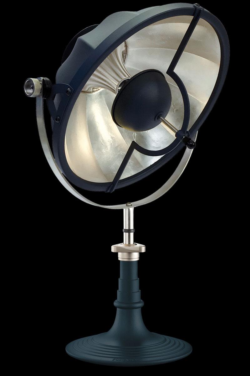 Lampada da tavolo Fortuny Armilla 41 blu pastello e foglia argento