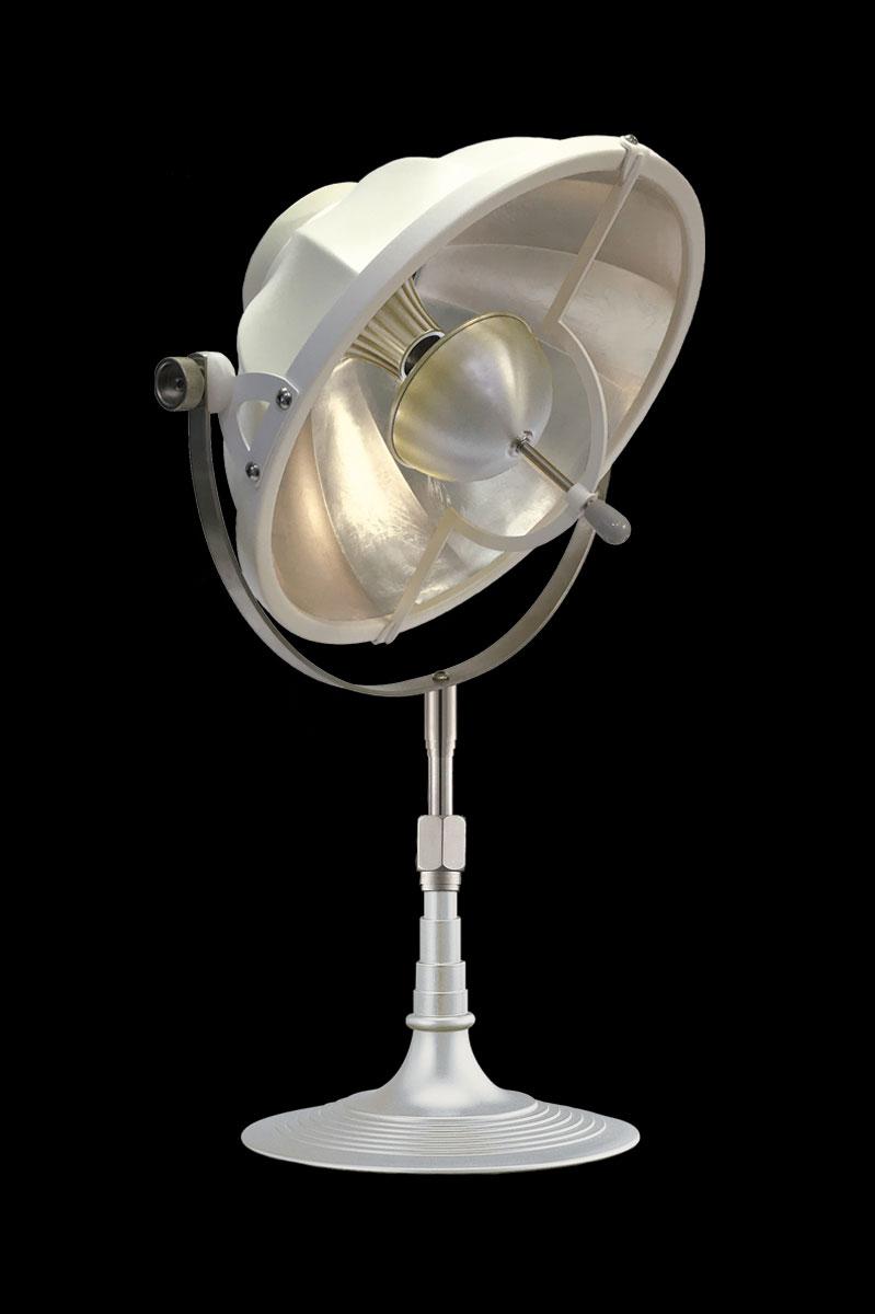 Lampada da tavolo Fortuny Armilla 32 bianca e foglia argento