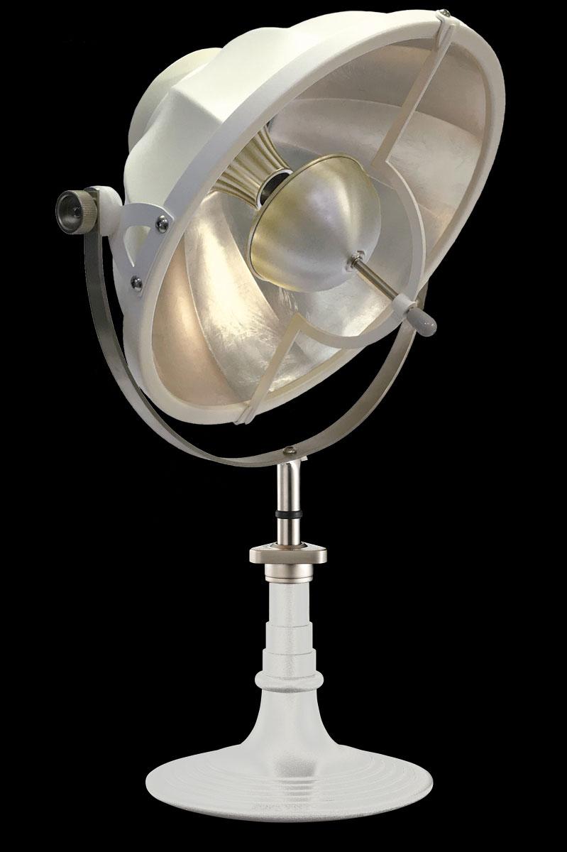 Lampada da tavolo Fortuny Armilla 41 bianca e foglia argento