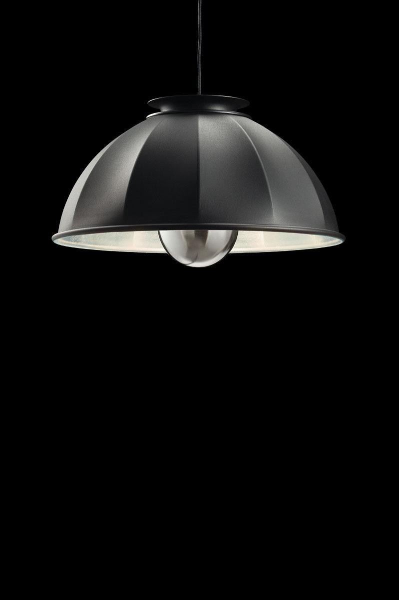 Lampada a sospensione Fortuny Studio 1907 Cupola nero e argento