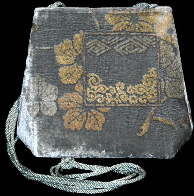 Borsa Fortuny Gioia 545 in velluto grigio stampato