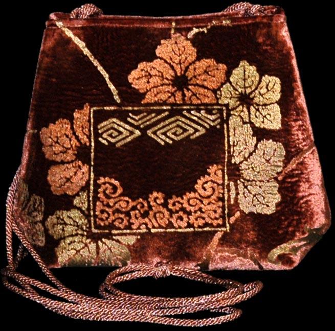 Borsa Fortuny Gioia in velluto color terracotta stampato
