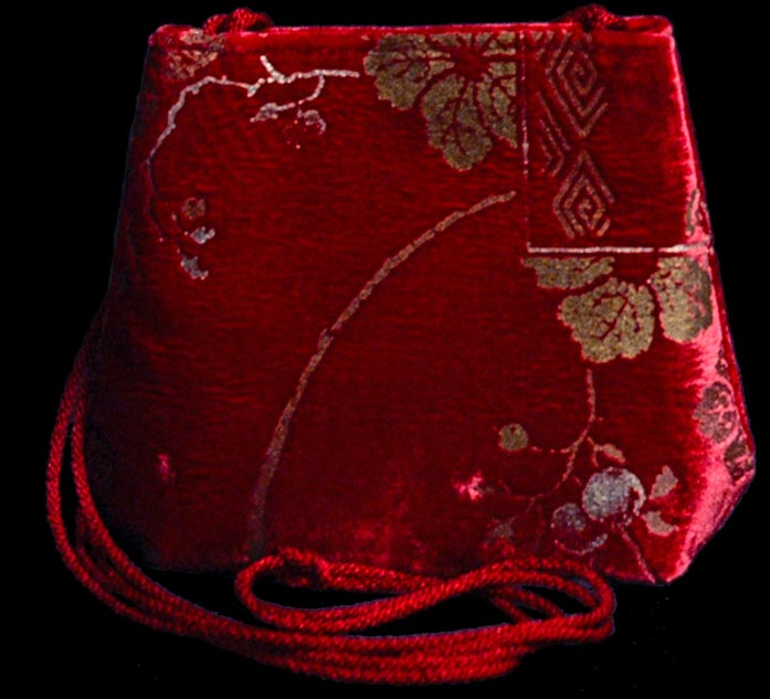Fortuny Borsa Gioia 547 in velluto rosso stampato