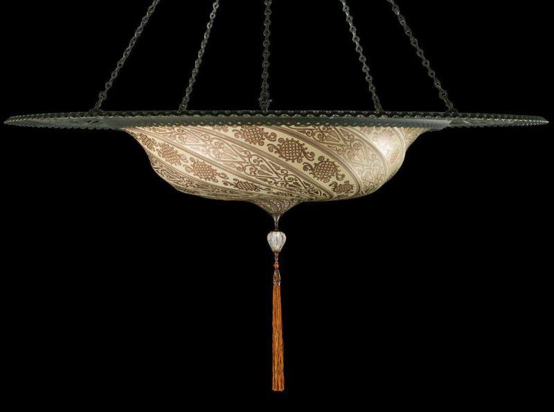 Lampada Fortuny Scudo Saraceno in vetro argento con anello metallico