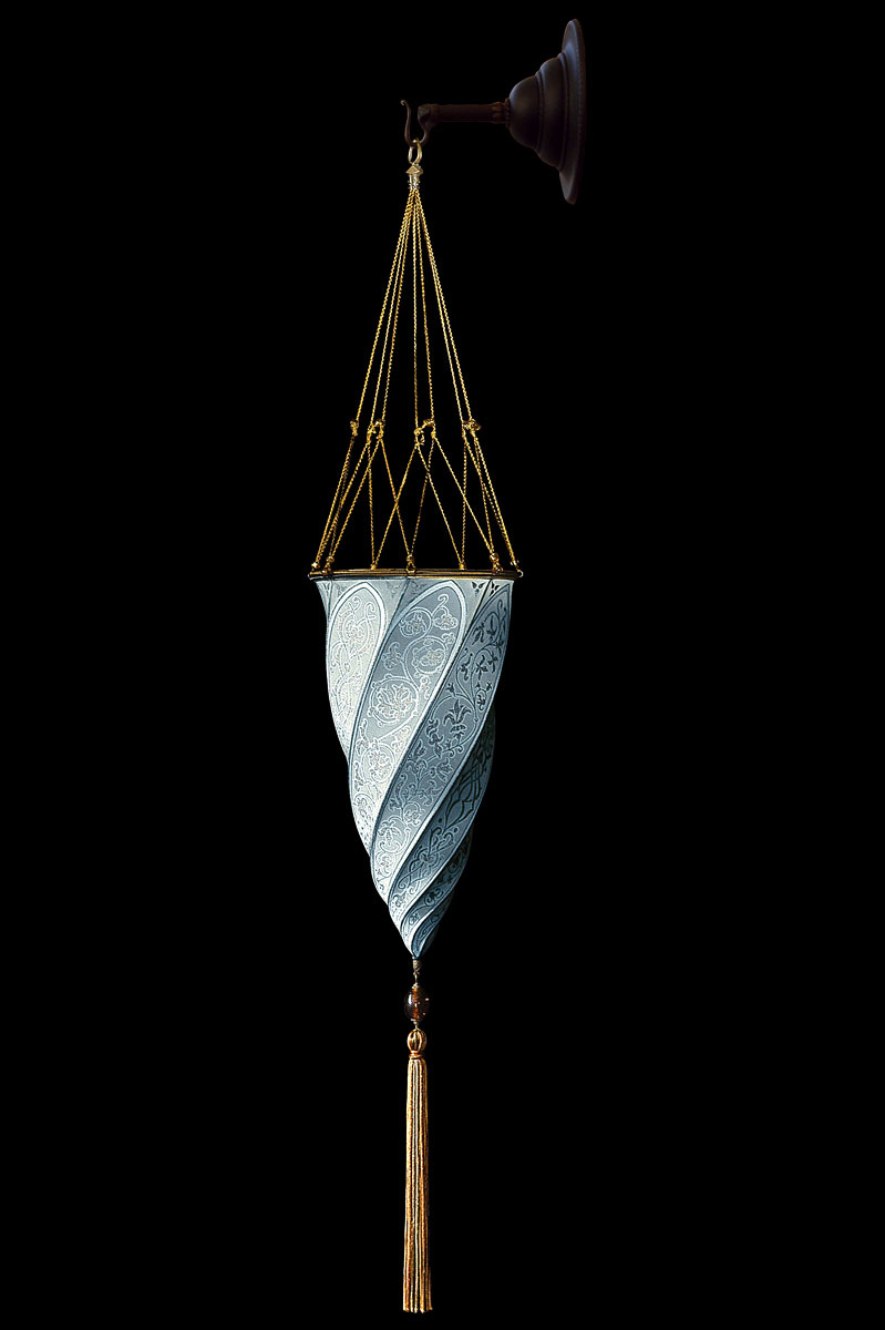 Fortuny Cesendello plain light blue silk wall lamp