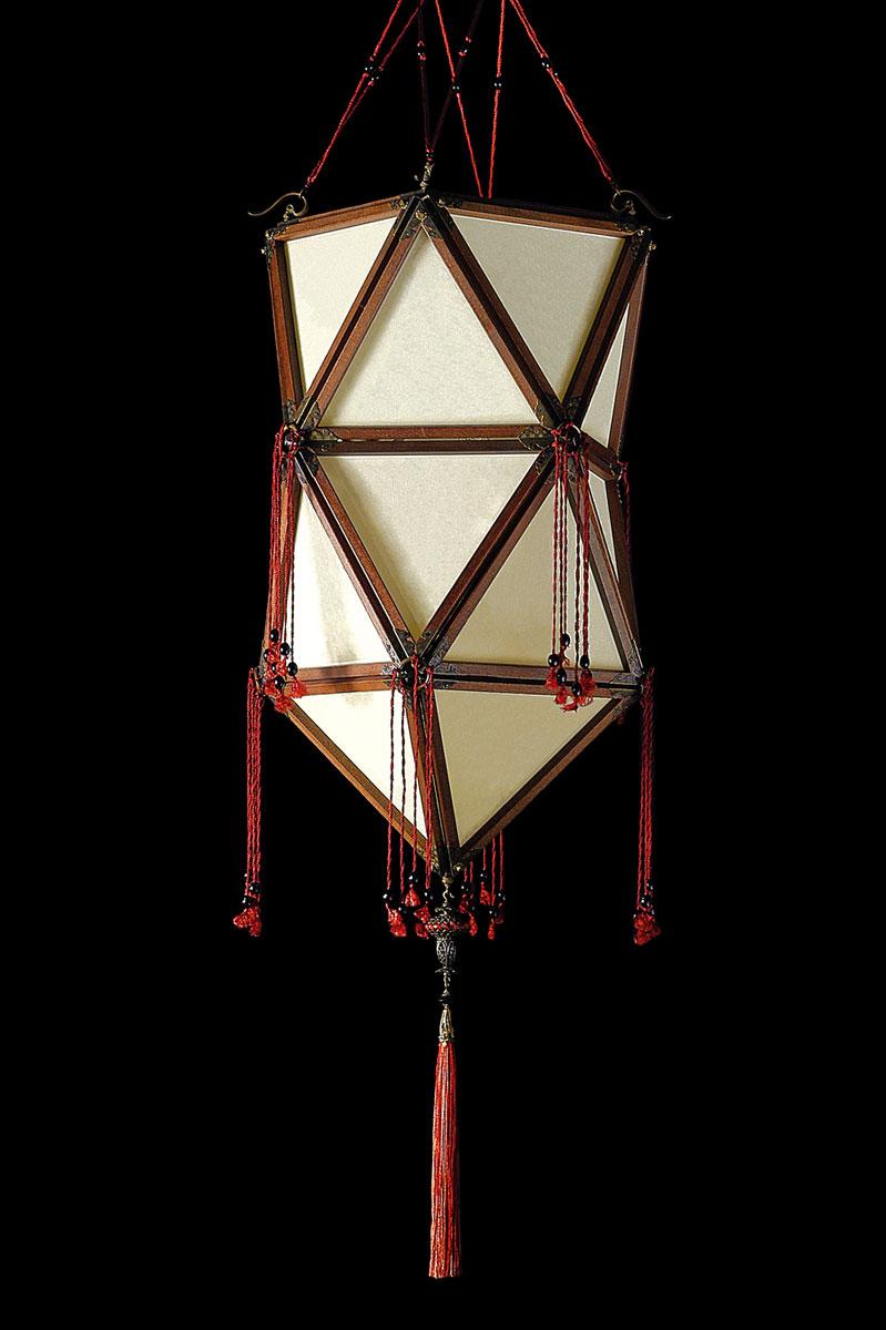 Lampada in seta Fortuny Concubine Favorita Plain senza decorazioni con struttura in legno