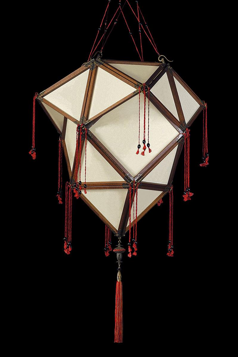 Lampada Fortuny Concubine Proibita in seta senza decorazioni con struttura in legno