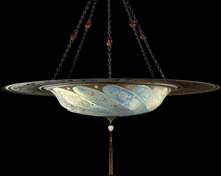 Lampada Fortuny Scudo Saraceno Classic in seta azzurra con anello metallico