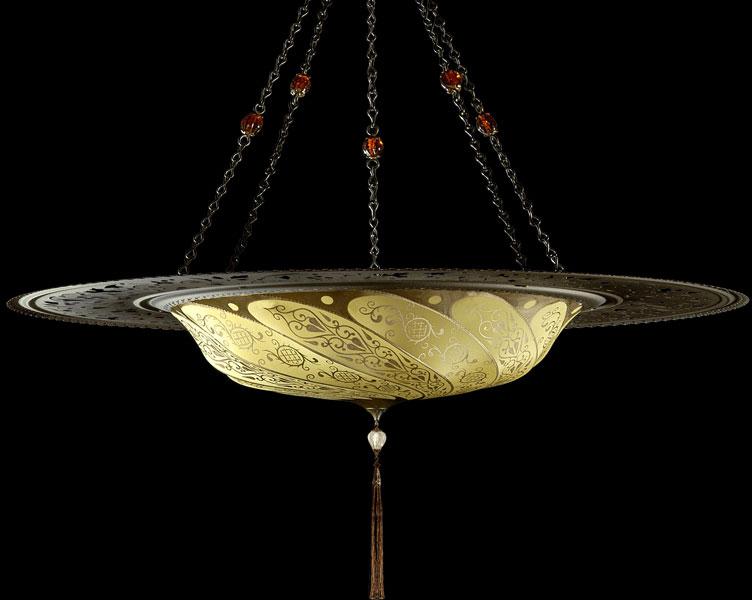Lampada Fortuny Scudo Saraceno Classic in seta avorio giallo ocra con anello metallico