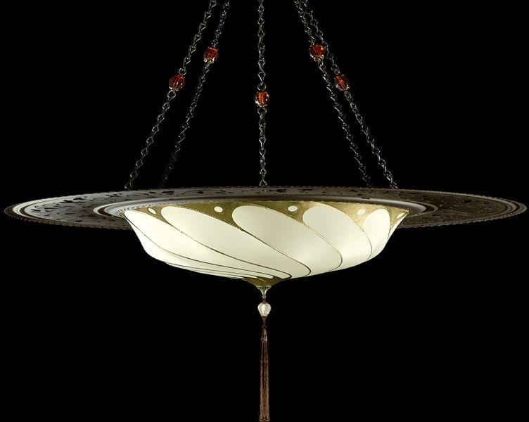 Lampada Fortuny Scudo Saraceno Plain senza decorazioni in seta avorio con anello metallico