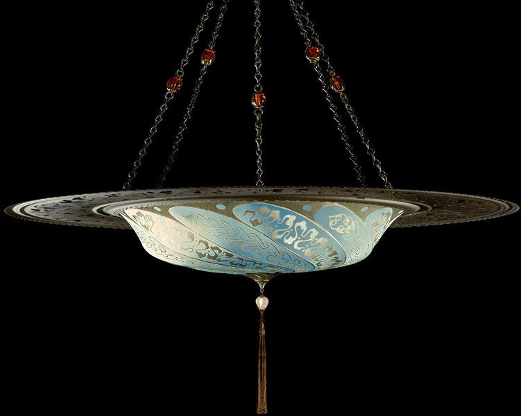 Lampada Fortuny Scudo Saraceno Serpentine in seta azzurra con anello metallico