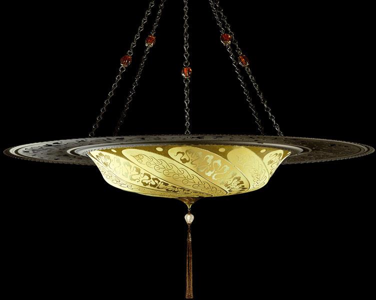 Lampada Fortuny Scudo Saraceno Serpentine in seta avorio giallo ocra con anello metallico