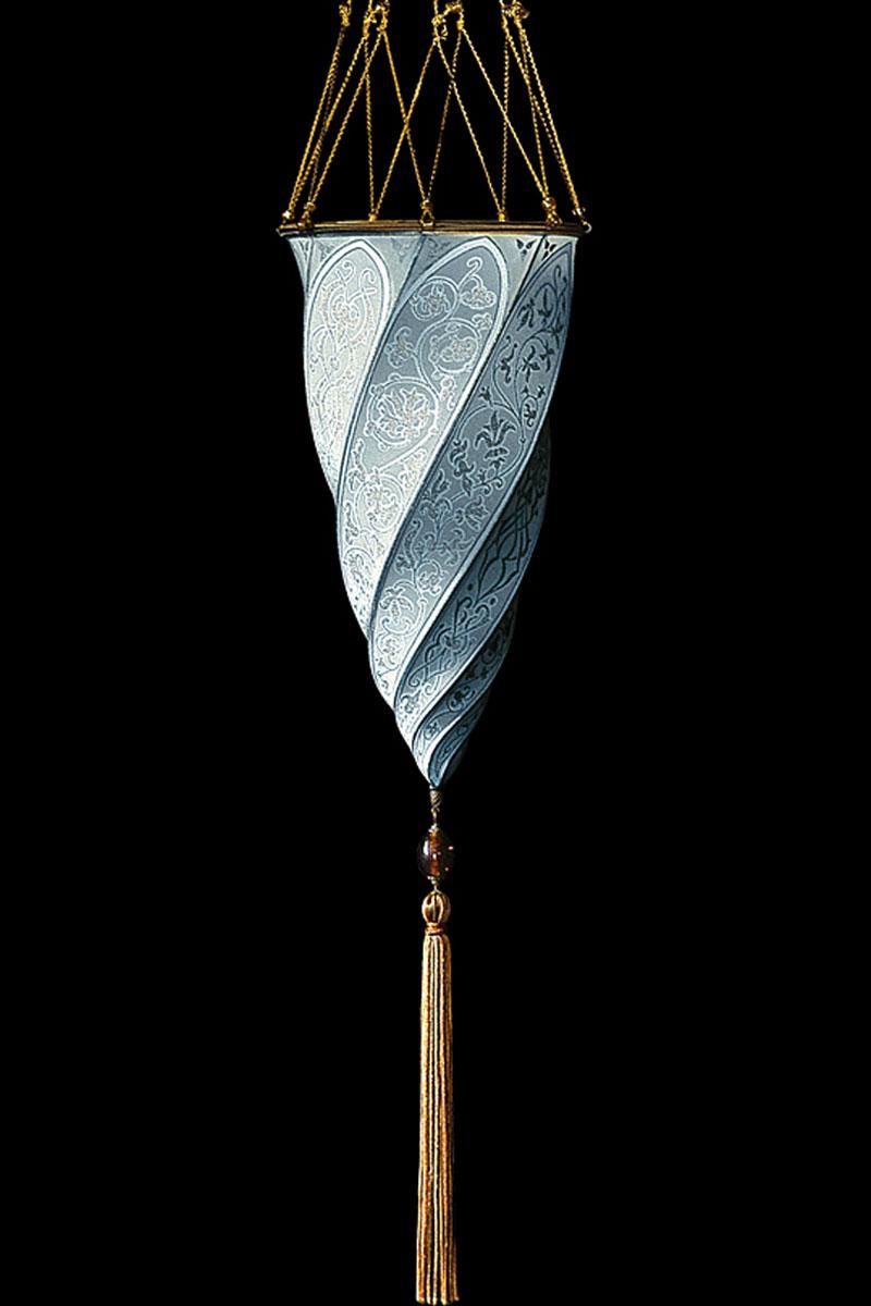 Lampada in seta azzurra Fortuny Cesendello