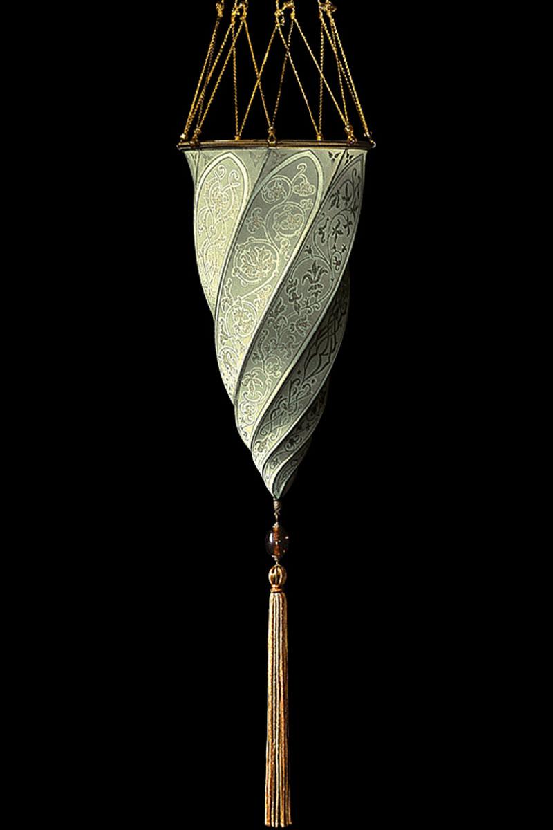 Lampada in seta Fortuny Cesendello grigio salvia