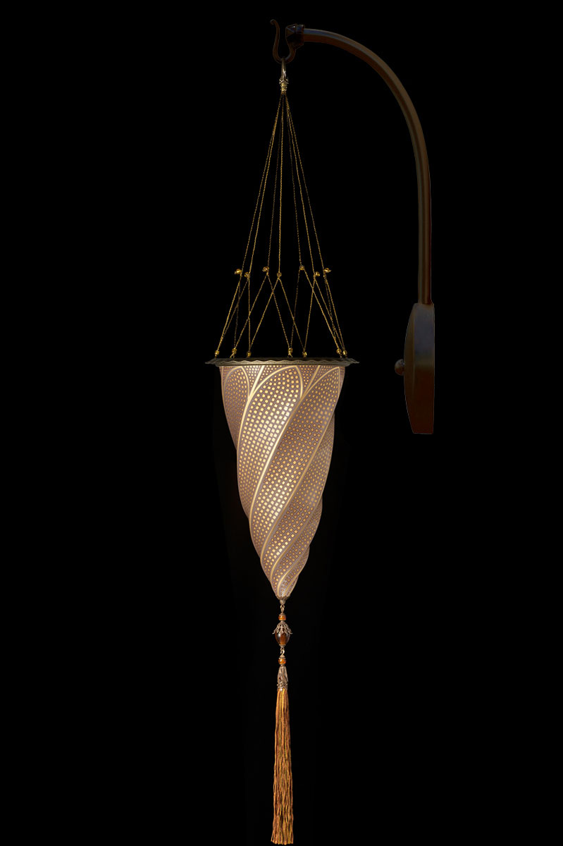 Lampada Fortuny Cesendello ad arco in vetro oro mosaico