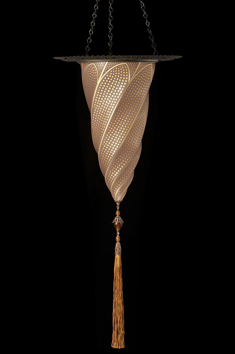 Lampada Fortuny Cesendello in vetro oro mosaico con anello metallico