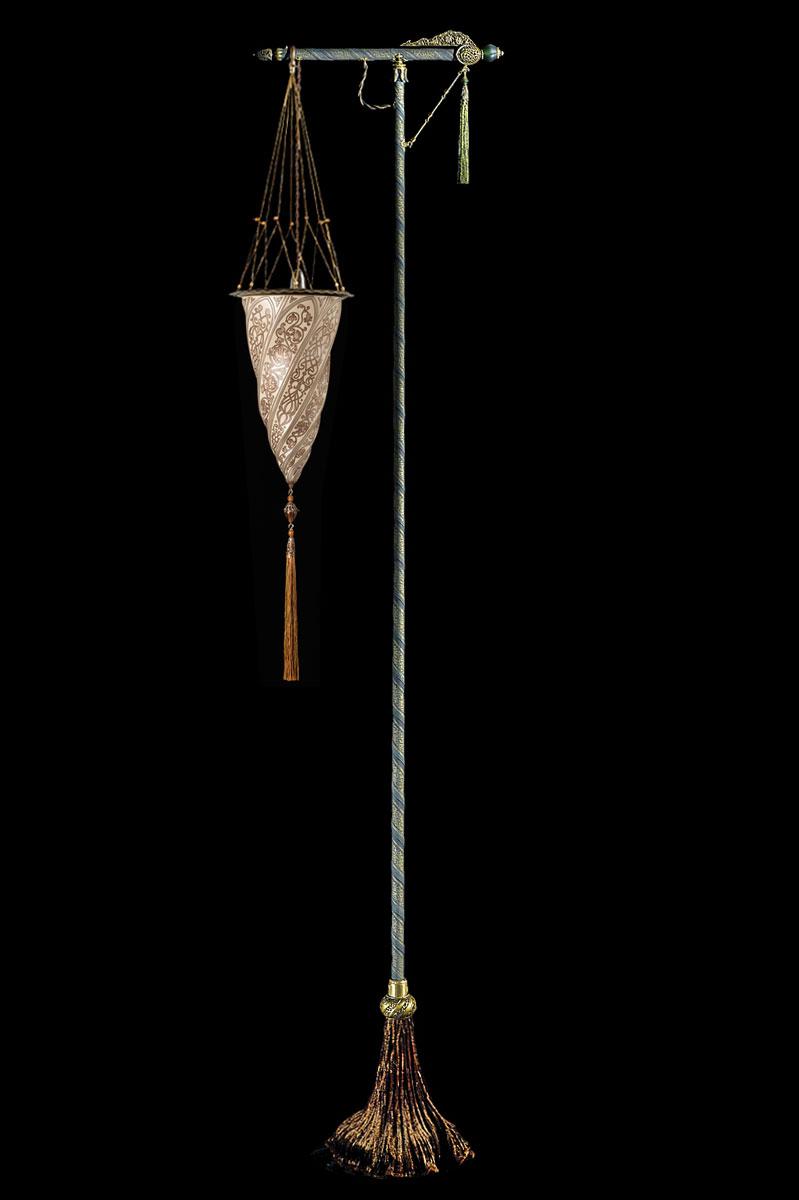 Lampada da terra Fortuny Cesendello in vetro argento con supporto verde