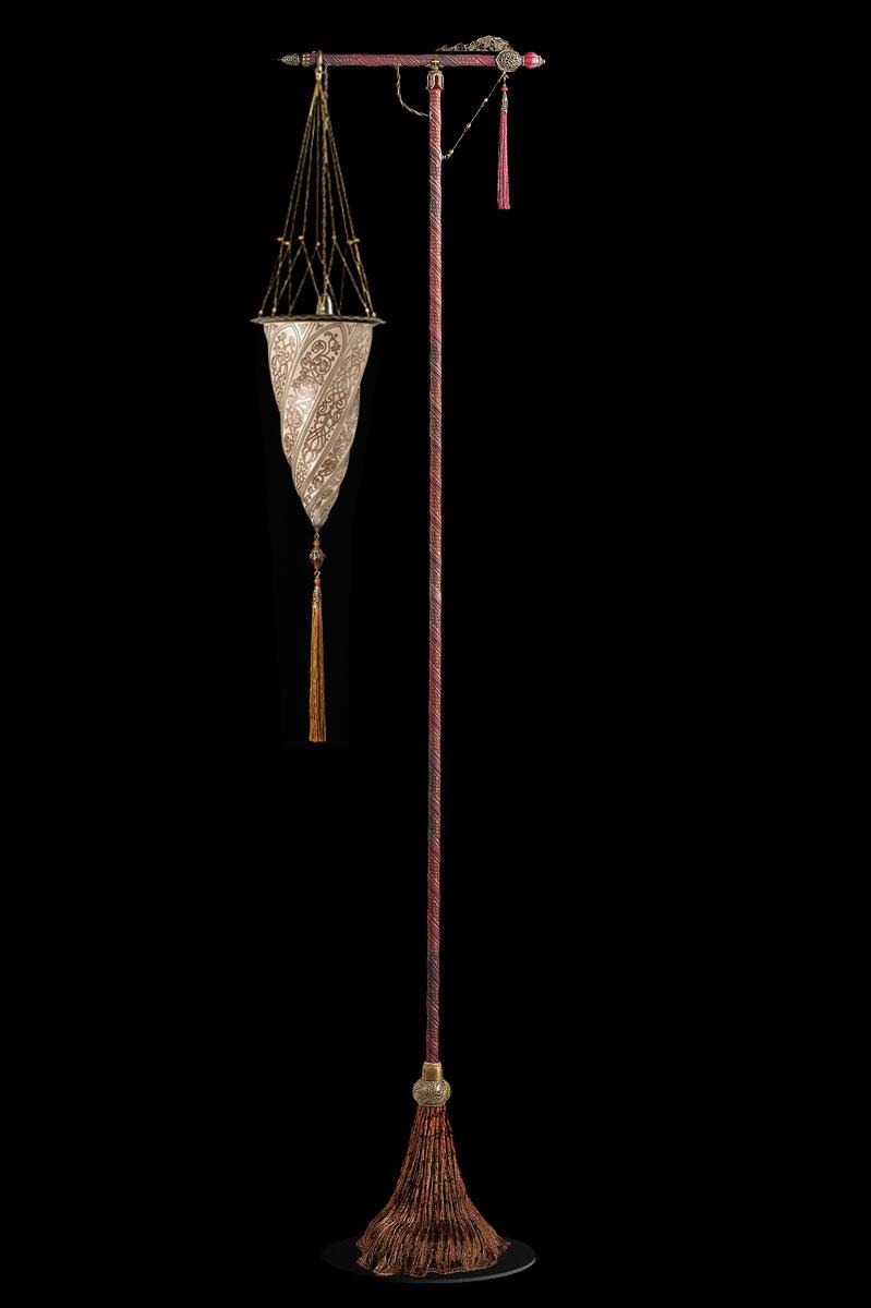Lampada da terra Fortuny Cesendello in vetro argento con supporto rosso