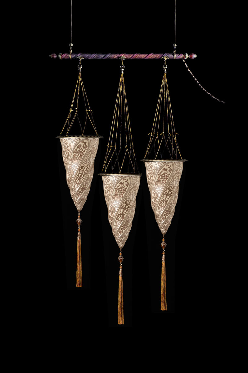 Lampada Fortuny Cesendello in vetro argento su asta con 3 punti luce