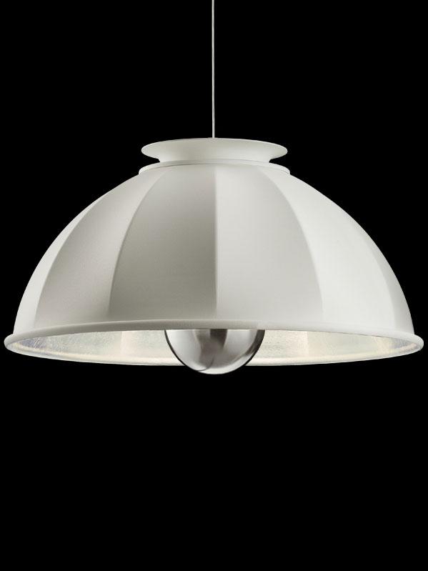 Lampada Fortuny Cupola 76 a sospensione bianca e argento