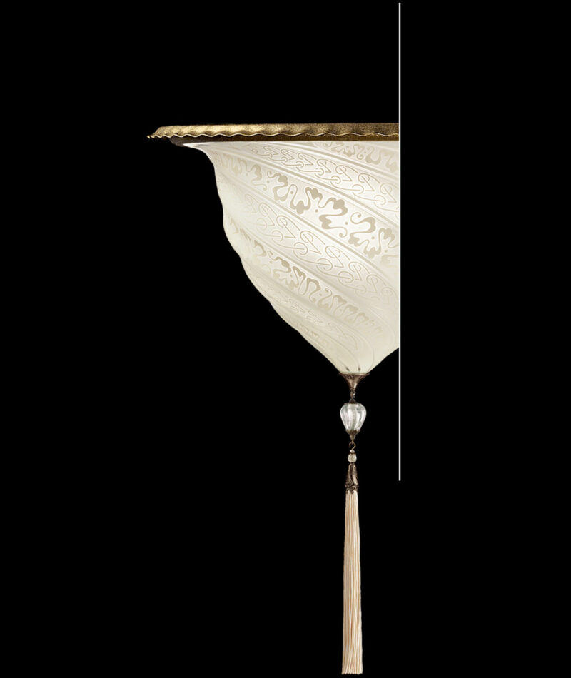 Fortuny Samarkanda wall white glass lamp applique
