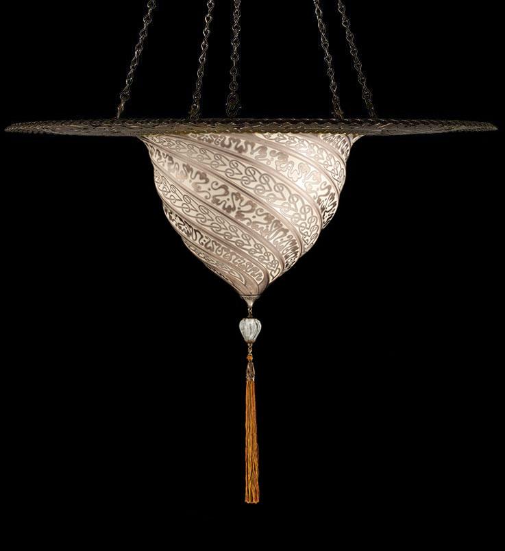 Lampada Fortuny Samarkanda in vetro argento con anello metallico