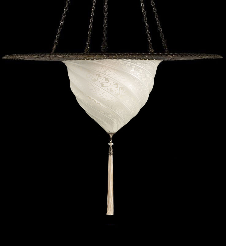 Lampada Fortuny Samarkanda in vetro bianco