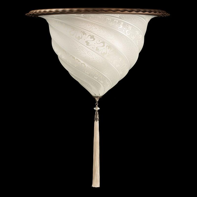 Lampada applique Fortuny Samarkanda in vetro bianco
