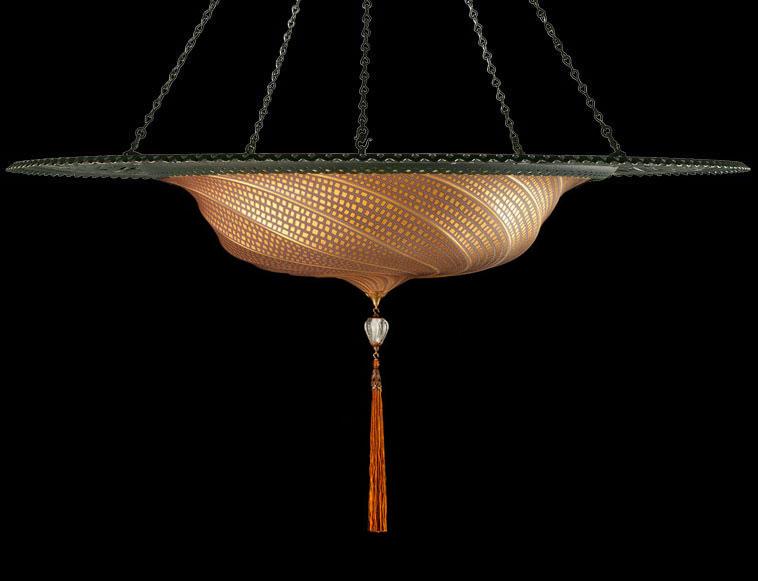 Lampada Fortuny Scudo Saraceno in vetro oro mosaico con anello metallico