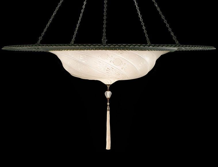 Lampada Fortuny Scudo Saraceno in vetro bianco classico con anello metallico