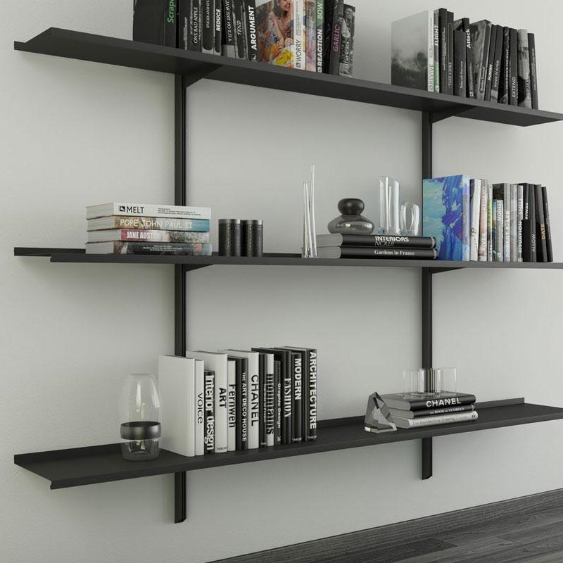 Libreria Pallucco Continua modulare nera da muro quadrata
