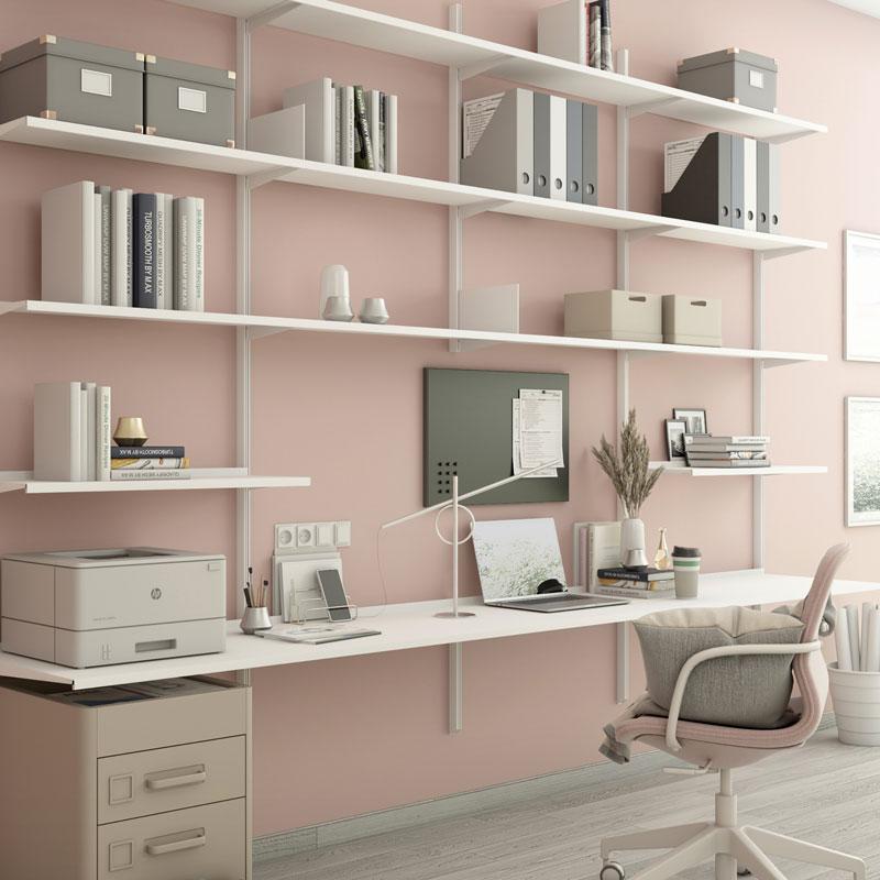 Libreria Pallucco Continua modulare bianca da muro con scrivania home office quadrata