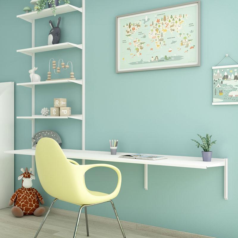 Libreria Pallucco Continua modulare bianca da muro con scrivania in camera per bambini - quadrata