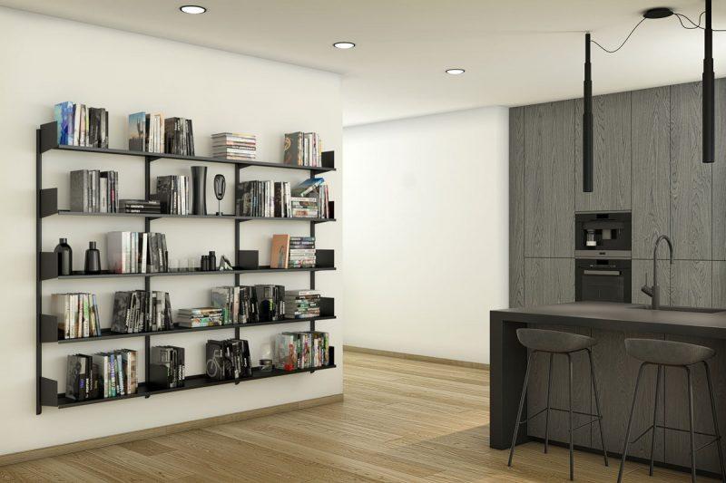 Libreria Pallucco Continua modulare nera da muro da cucina