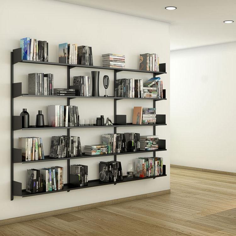 Libreria Pallucco Continua modulare nera da muro da cucina quadrata